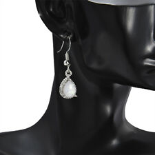 Silver Vintage Plated White Fire Opal Women Wedding Dangle Drop Earrings