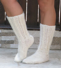100% WOOL natural organic CREAM socks thick hand knit unisex leg warmers soft