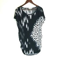 Peter Nygard Womens Tunic Top Blouse Large Black & White Mixed Prints Rouched