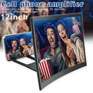12 inch Mobile Phone Video Curved Screen Amplifier 3D HD Magnifier Stand Holder