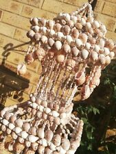 Vintage sea shell tiered hanging mobile wind chime Large Boho Nautical