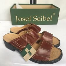Josef Seibel Womens 9 / 40 Brown Leather Sandal Mules NEW European Comfort Shoes