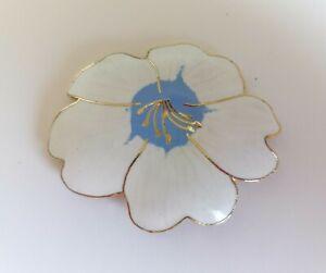 Vintage Cloisonne Stud Earrings White Blue Kitsch 80s Flower