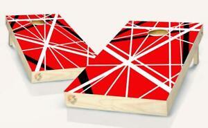 Red Striped Lines  Cornhole Board Vinyl Wrap Laminated Sticker Set Decal