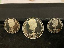Rare Original 3 coin 1975 Silver Laos Proof Set w/Case