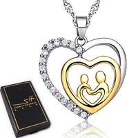 Muttertag Herz Halskette | 925 Silber | Damen | Swarovski® Kristalle | im Etui