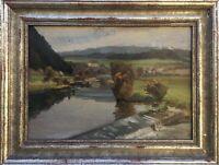Julius Schmid 1901 - 1965 Biberach Landschaft mit Flusslauf Tübingen Ölgemälde
