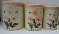 "Antique 3 Piece Nesting Canister Set Flowers Peach 7"""