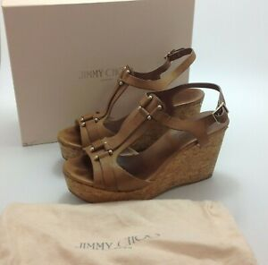 Jimmy Choo Sandals Wedge Heels UK 6.5 EU 39.5 Brown Leather Strappy Boxed 521520