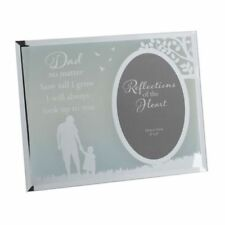 """Dad Photo Frame Frosted Mirror Sentimental Words 4"""" x 6"""" Birthday Gift Father"""