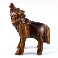 """Hand Carved Wood Wooden Ironwood Small Standing Wolf Howling Figurine 1.75 - 2""""H"""