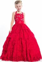 Rachel Allan Perfect Angels 1663 Red Stunning Lace Girls Pageant Gown sz 4