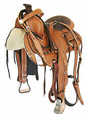 """Western Roper Saddle Set 'Thsl' Light Oil Metal Covered Stirrups 15"""" (1074)"""