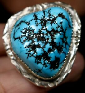 BIG NUGGET TURQUOISE! Navajo Sterling Silver MENS Ring Sz 11 SIGNED