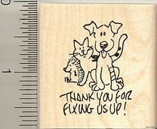Thank you to vet rubber stamp E10307  dog cat hedgehog