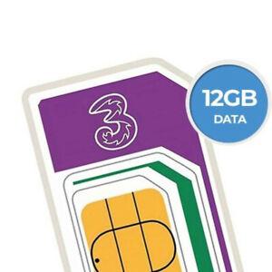 Three 12 GB Trio Sim Card Pay As You Go EU Roaming 3G/4G Mobile Broadband Data