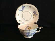 Haviland Limoges Montmery (Forget Me Nots) One (1) Footed Tea Cup & Saucer Set