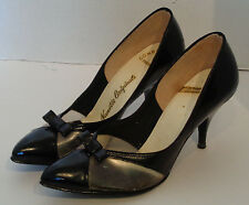 Vintage Black & Clear Plastic High Heel Shoes Nanette Originals 6 1/2 M