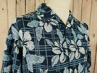 Mens S-sleeve Blue Aloha Hibiscus Pattern Rayon Shirt Hawaiian -M- JZ05