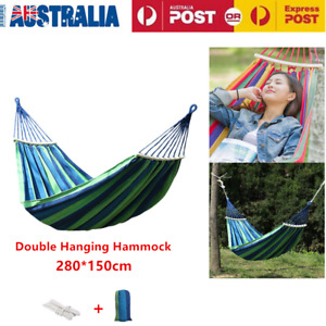 250Kg Double Hanging Hammock Travel Outdoor Garden Beach Hanging Camping Bed AU