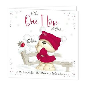 PERSONALISED CHRISTMAS XMAS CARD- FOR THE ONE I LOVE -FIZZY MOON BEARS- ADD NAME