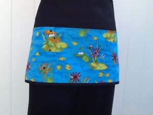 Frogs, Tropical, server waitress waist Black apron 3 pocket restaurant Summer