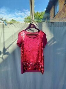 Next Burgundy Pink Viscose Jersey Sequin T-Shirt UK 12 VGC
