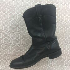Justin Boots Men's SZ 7 A Black Leather Cowboy Western Pull On S335