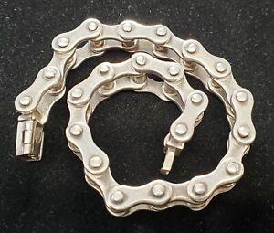 """Vintage Sterling Silver Bike Chain Bracelet Large Heavy Biker Style 9"""" .925"""