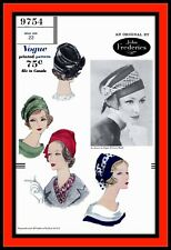 DRAPED Berets HAT Vintage HALSTON Cap Misses VOGUE 7412 Fabric Sewing Pattern
