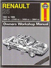 Renault 25 1984-1986 Haynes Workshop Manual TS GTS GTX V6 Turbo Injection & Limo