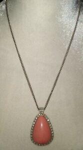"Vintage Avon Large 2"" Tear Drop Pink Stone Pendant Necklace w/ Rhinestones"