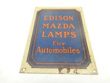 RARE Vintage EDISON MAZDA CAR AUTO AUTOMOBILE LAMP Advertising SIGN EMBLEM BADGE