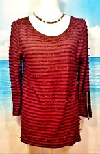 ANN TAYLOR Womans TUNIC Top Textured WINE BURGUNDY and BLACK textured shirt  Lg