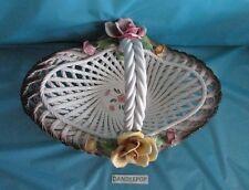 Vintage Capodimonte White Lattice Woven Rose Flower Basket with handle 15 x 9