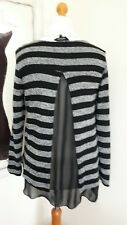 Ladies Grey/Black Layered Long sleeved open back with chiffon size L NEW LOOK