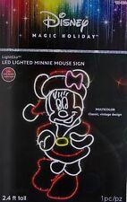 Christmas Disney 2.4 ft Tall LightGlo Minnie Mouse Mrs Claus Sculpture Sign NIB