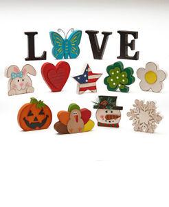 13 Pc. Interchangeable Seasonal Halloween Wooden LOVE Table Centerpiece Decor