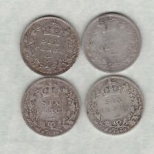 More details for four 1884/1887/1889 & 1890 victoria silver sixpences in a used condition