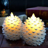 Luminara Flicker Flame Candles, Pine Cone Led Candle with Timer for Christmas