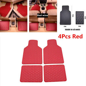 4Pcs Red PU Leather Car SUV Floor Mat Front Rear Carpet Protect Pad Accessories