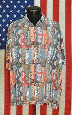 Rare VTG Kahala Made Hawaii Hawaiian Rayon Shirt Aloha Dress XL Island Aztec HI
