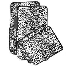 Car Floor Mats for Auto 4pc Carpet White Safari Leopard Animal Print w/Heel Pad