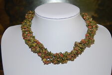 VINTAGE MULTI STRAND GREEN AND PINKS NATURAL STONES CHIPS CHUNKS CHOKER NECKLACE