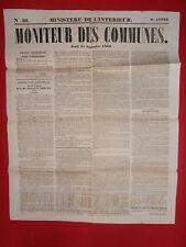 JOURNAL LE MONITEUR DES COMMUNES MINISTERE DE L'INTERIEUR N°39 27 SEPTEMBRE 1860