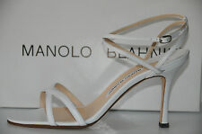 New MANOLO BLAHNIK PIPPO crisp WHITE LEATHER Shoes Strappy Sandals 40.5 Wedding