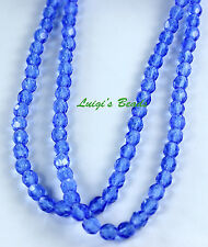 50 Sapphire Blue Czech Firepolish Faceted Round Glass Beads 4mm