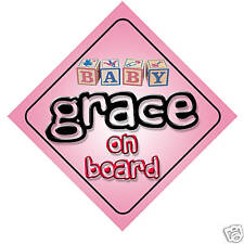 Baby Grace On Board Car Sign New Girl/Birthday Gift