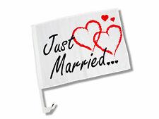 """Autoflagge Autofahne """"Just Married"""" mit Herzen NEU Autokorso Hochzeit"""
