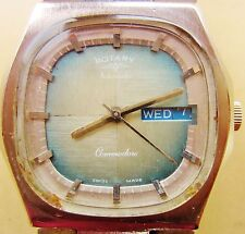 Gents SS Rotary Commodore 21J Auto AS2066 Day Date Bracelet Watch Service Warnty